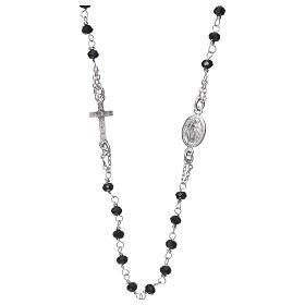 Naszyjnik różaniec na szyję AMEN pave kryształki czarne srebro 925 Rodio s3