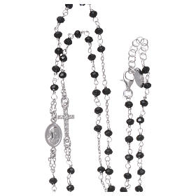 Rosary AMEN Necklace Pavè black crystals silver 925, Rhodium finish s4