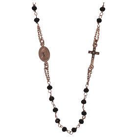 Collar rosario AMEN cristales negros plata 925 rosado s2