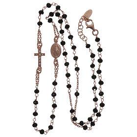 Collar rosario AMEN cristales negros plata 925 rosado s3
