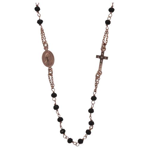 Collar rosario AMEN cristales negros plata 925 rosado 2
