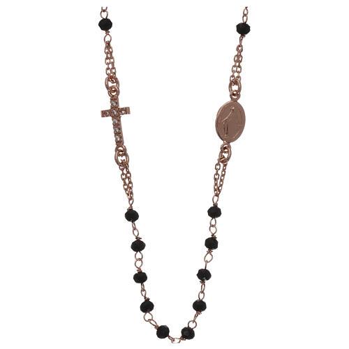 Collana rosario girocollo AMEN pavè cristalli neri arg 925 Rosè 1