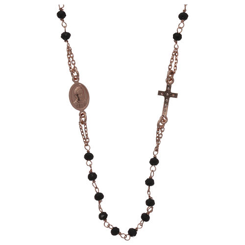 Collana rosario girocollo AMEN pavè cristalli neri arg 925 Rosè 2