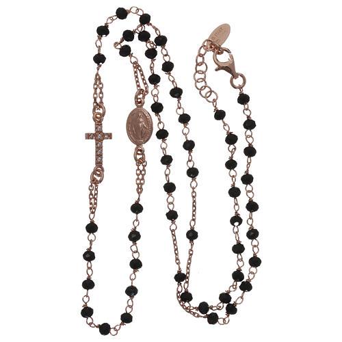 Collana rosario girocollo AMEN pavè cristalli neri arg 925 Rosè 3