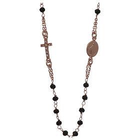 Pingentes, Cruzes, Broches, Correntes: Colar terço gargantilha AMEN pavé cristais pretos prata 925 acab. rosê