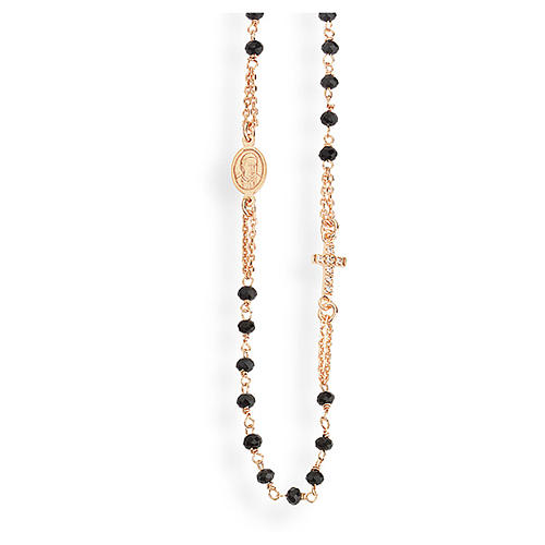 Rosary AMEN Necklace Pavè black crystals silver 925, Rosè finish 1