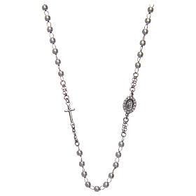 Collar rosario AMEN perlas plata 925 acabado Rodio s1