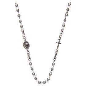 Collar rosario AMEN perlas plata 925 acabado Rodio s2