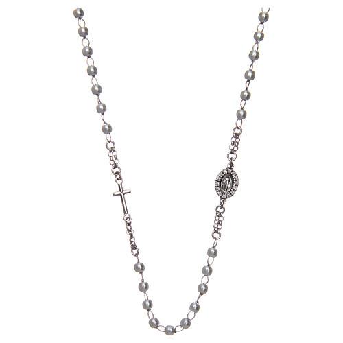 Collar rosario AMEN perlas plata 925 acabado Rodio 1