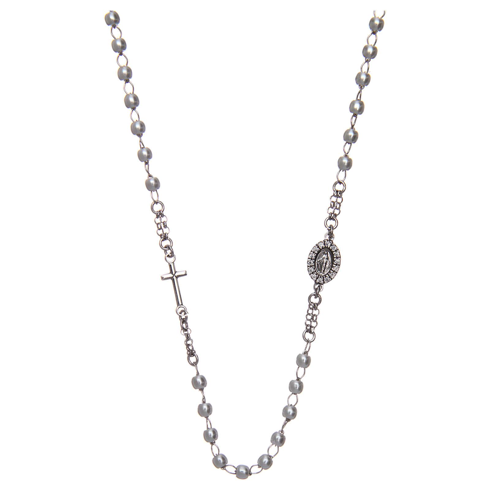 Collier chapelet tour du cou AMEN pavé perles arg 925 rhodié 4