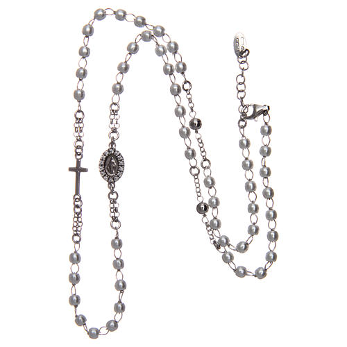 Collier chapelet tour du cou AMEN pavé perles arg 925 rhodié 3