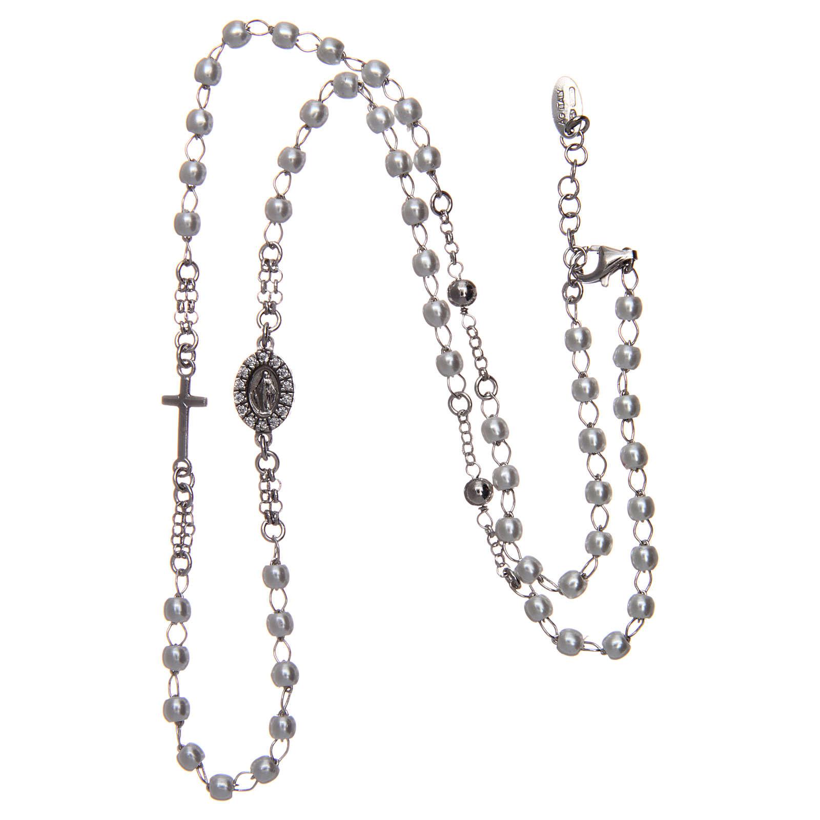 Collana rosario girocollo AMEN pavè perle arg. 925 fin. Rodio 4