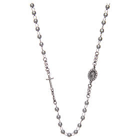 Collana rosario girocollo AMEN pavè perle arg. 925 fin. Rodio s1