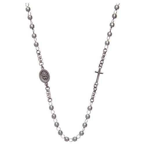 Collana rosario girocollo AMEN pavè perle arg. 925 fin. Rodio 2