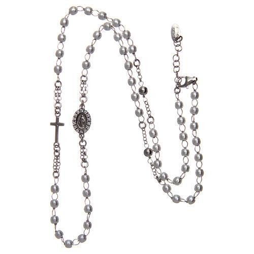 Collana rosario girocollo AMEN pavè perle arg. 925 fin. Rodio 3