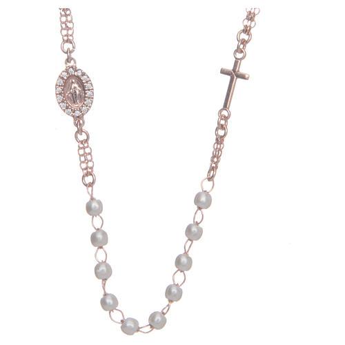 Rosenkranz Kette AMEN Perlen Silber 925 rosa Finish