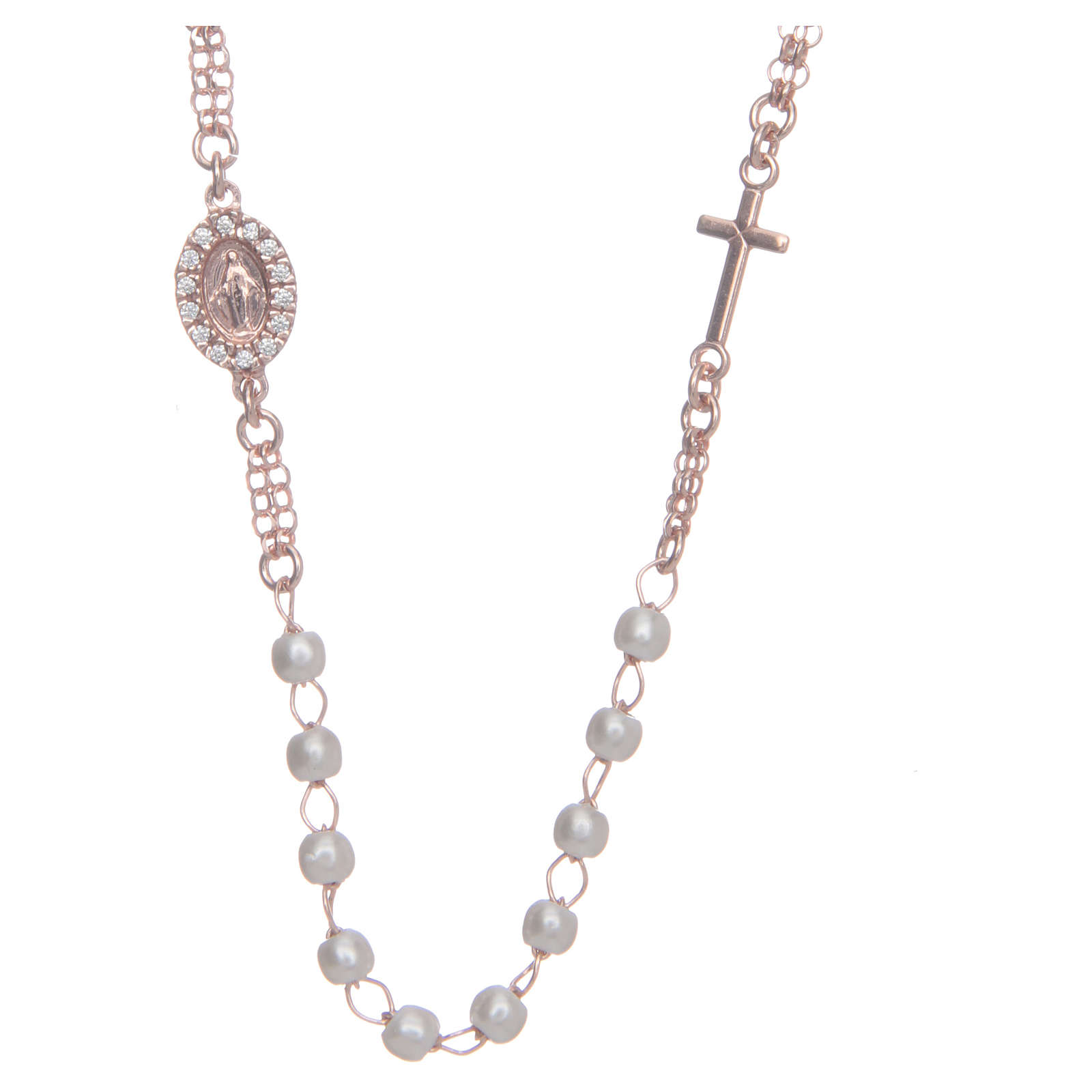 Collar Necklace AMEN Pavè pearls silver 925, Rosè 4
