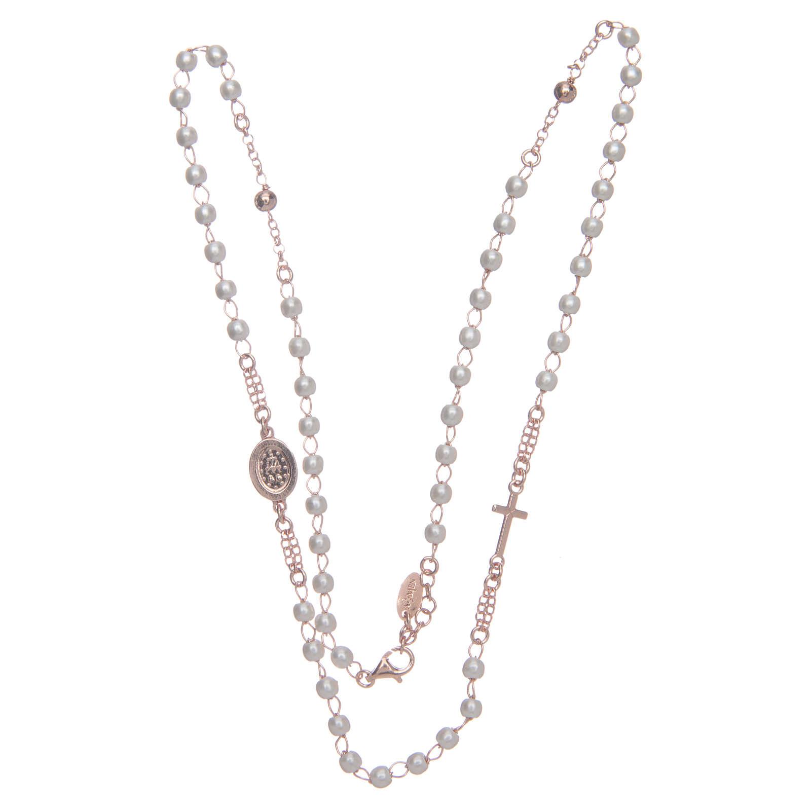 Collar rosario AMEN perlas plata 925 rosado 4