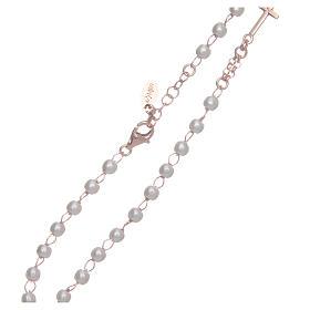 Collar rosario AMEN perlas plata 925 rosado s4