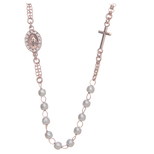 Collar rosario AMEN perlas plata 925 rosado 1