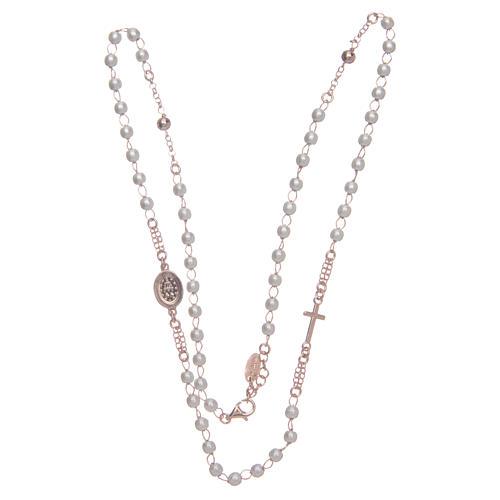 Collar rosario AMEN perlas plata 925 rosado 3