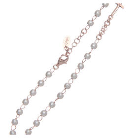Collier chapelet tour du cou AMEN pavé perles arg 925 rosé s4