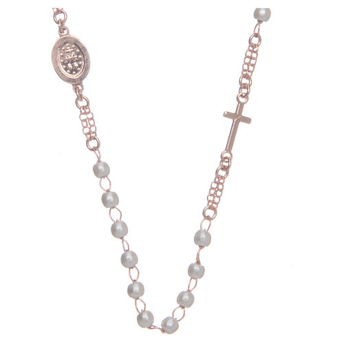 Collar Necklace AMEN Pavè pearls silver 925, Rosè 2