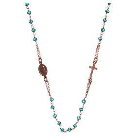 Collar rosario AMEN cristales verdes plata 925 rosado s2
