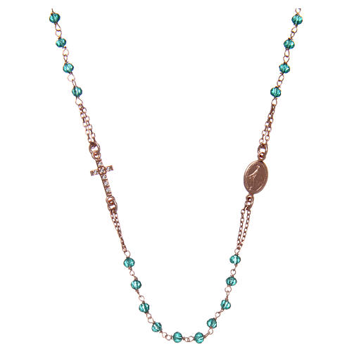Collar rosario AMEN cristales verdes plata 925 rosado 1