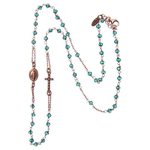 Collar rosario AMEN cristales verdes plata 925 rosado 3