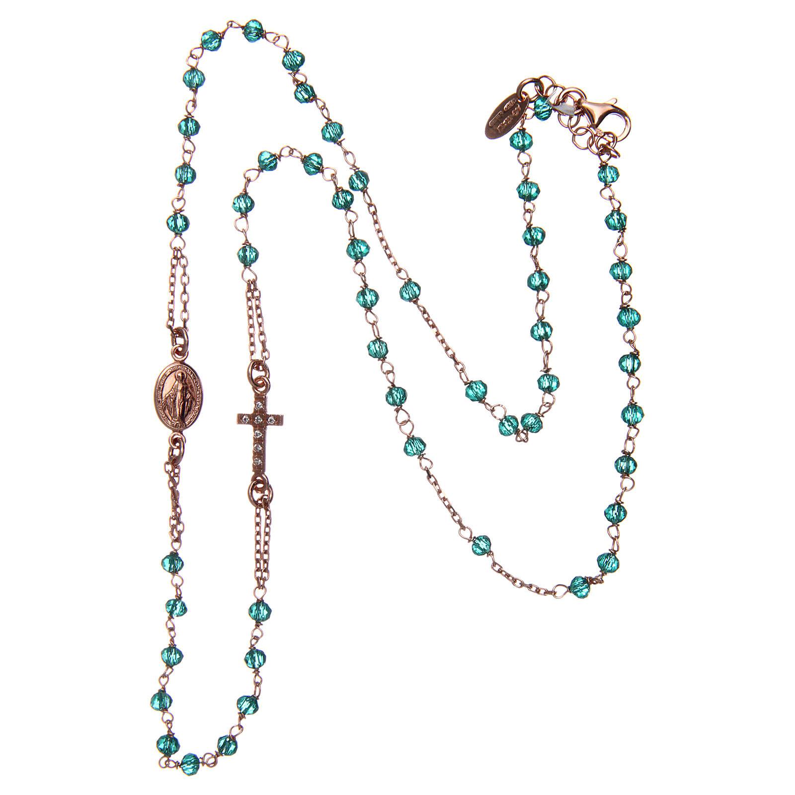 Collana rosario girocollo AMEN pavè cristalli verdi arg 925 Rosè 4