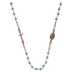 Collana rosario girocollo AMEN pavè cristalli verdi arg 925 Rosè