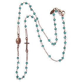 Collana rosario girocollo AMEN pavè cristalli verdi arg 925 Rosè s3