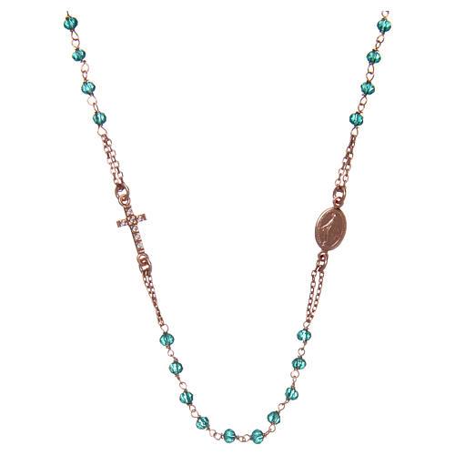 Collana rosario girocollo AMEN pavè cristalli verdi arg 925 Rosè 1