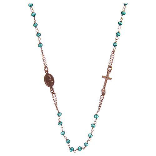 Collana rosario girocollo AMEN pavè cristalli verdi arg 925 Rosè 2