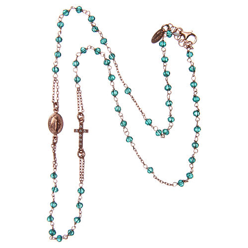 Collana rosario girocollo AMEN pavè cristalli verdi arg 925 Rosè 3