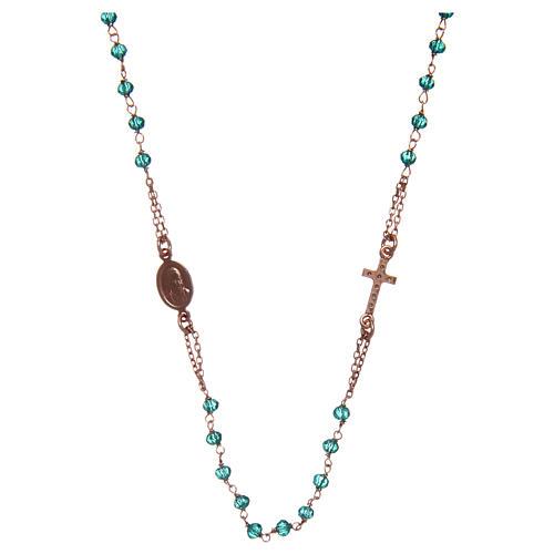 Naszyjnik różaniec na szyję AMEN pave kryształki zielone srebro 925 Rose 2