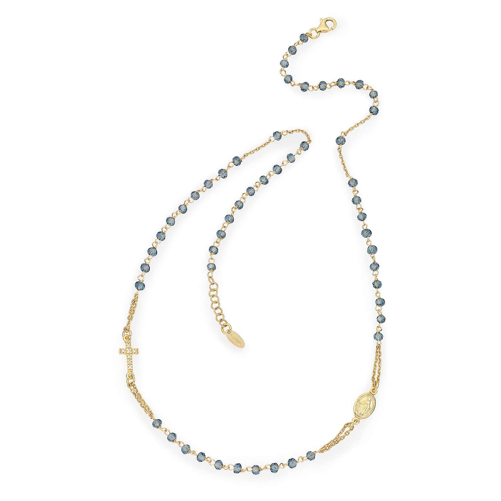 Collier chapelet tour du cou AMEN pavé cristaux bleus arg 925 rosé 4