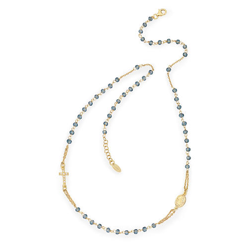 Collier chapelet tour du cou AMEN pavé cristaux bleus arg 925 rosé 1