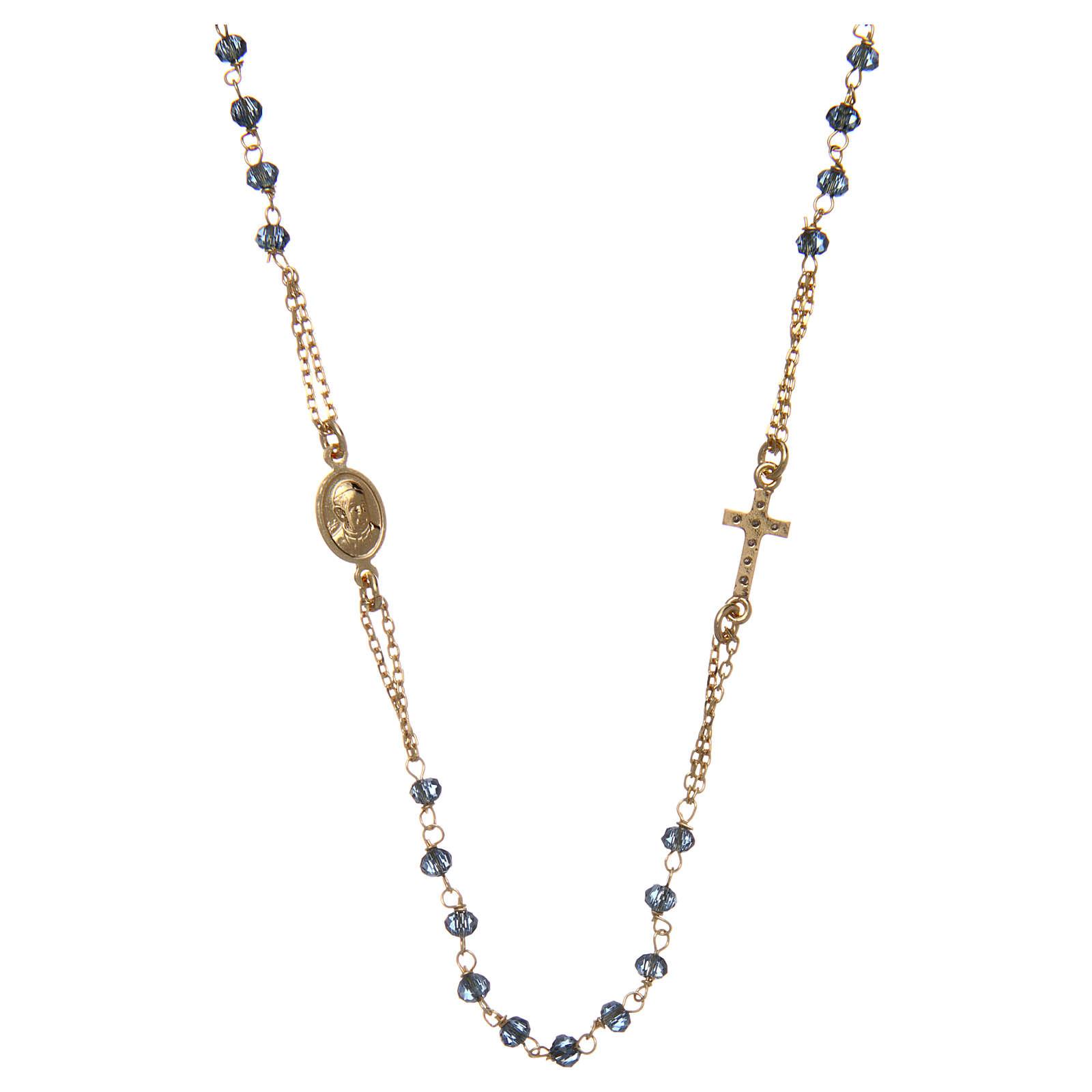 Collana rosario girocollo AMEN pavè cristalli blu arg 925 Rosè 4