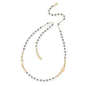 Collana rosario girocollo AMEN pavè cristalli blu arg 925 Rosè s1