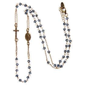 Collana rosario girocollo AMEN pavè cristalli blu arg 925 Rosè s3
