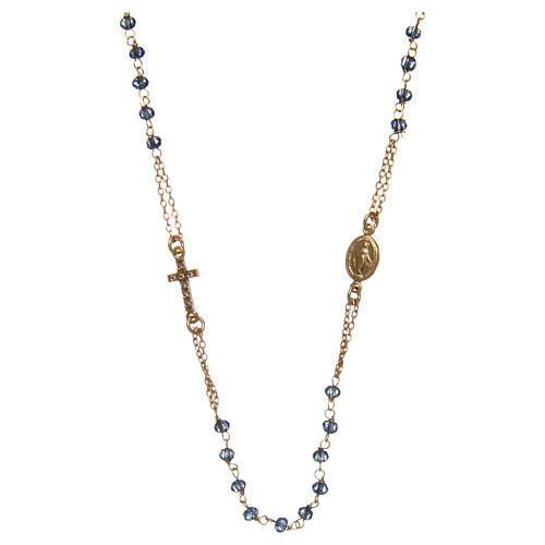 Collana rosario girocollo AMEN pavè cristalli blu arg 925 Rosè 1