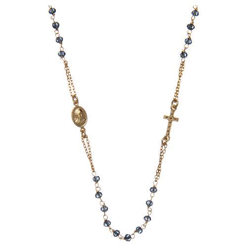 Collana rosario girocollo AMEN pavè cristalli blu arg 925 Rosè 2