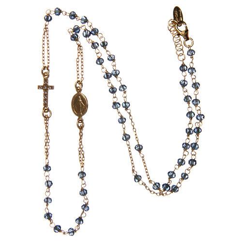 Collana rosario girocollo AMEN pavè cristalli blu arg 925 Rosè 3