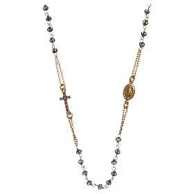 Pingentes, Cruzes, Broches, Correntes: Colar terço gargantilha AMEN pavé cristais azuis prata 925 acab. rosê