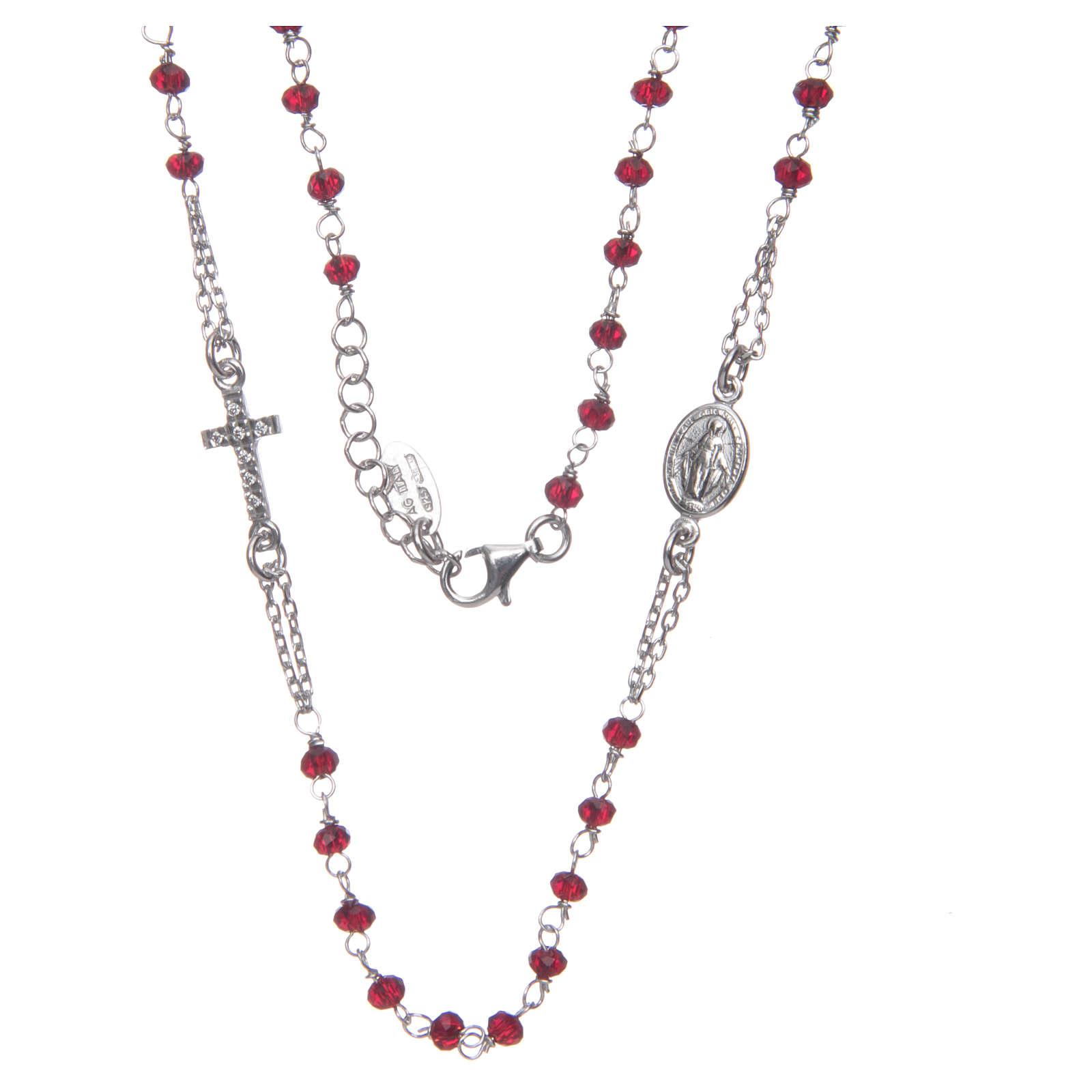 Collar rosario AMEN cristales coral plata 925 rosado 4