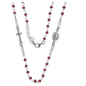 Collar rosario AMEN cristales coral plata 925 rosado s3