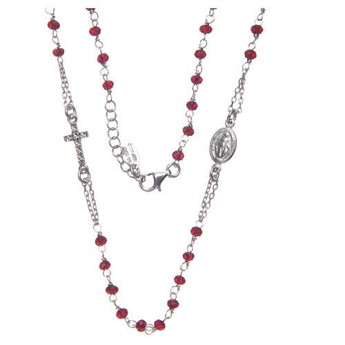 Collar rosario AMEN cristales coral plata 925 rosado 3