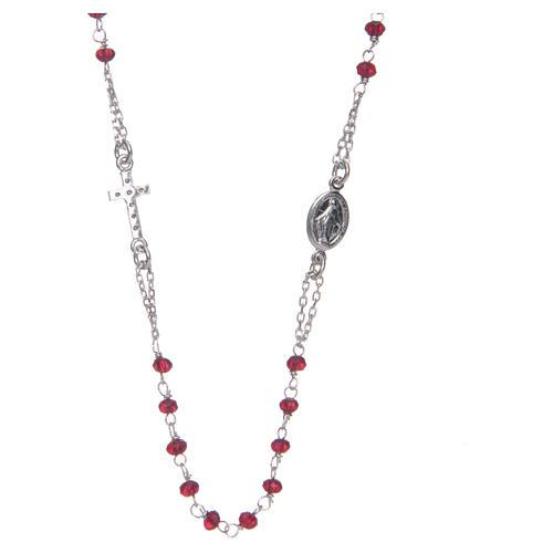 Collier chapelet tour du cou AMEN pavé cristaux corail arg 925 rosé 2